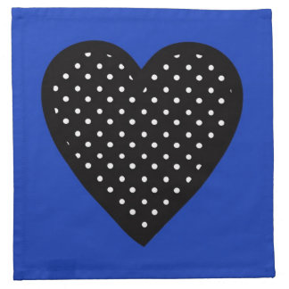 Polka Dot Heart with Blue Background Printed Napkin
