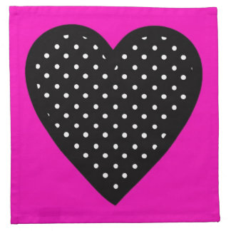 Polka Dot Heart with Pink Background Napkins