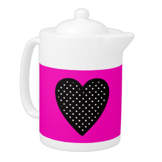 Polka Dot Heart with Pink Background