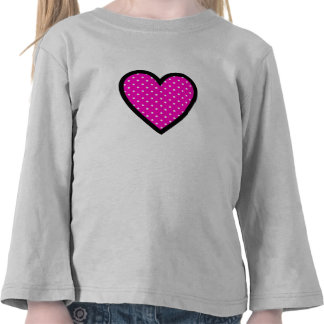 Polka Dot Heart with Pink Background T Shirts