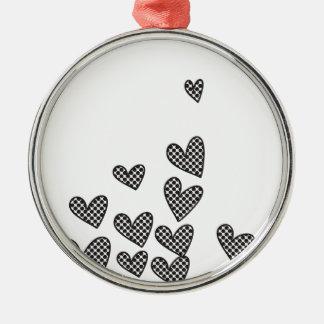 Polka dot hearts - custom background color round metal christmas ornament