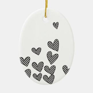 Polka dot hearts - custom background color Double-Sided oval ceramic christmas ornament
