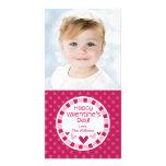 Polka Dot Hearts Pink Valentine's Day Photo Card