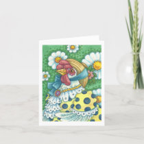 POLKA DOT HEN, CHICKEN PORTRAIT NOTE CARD Blank
