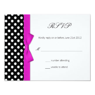 Polka Dot Hot Pink Bow Wedding Response Card