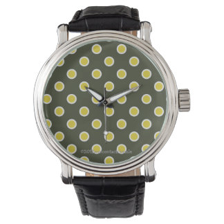 Polka dot in on-trend (2015) chartreuse/aqua watch