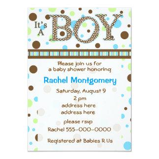 Polka dot its a boy baby shower invitation