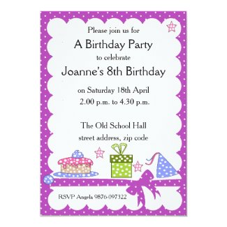 "Polka Dot Kid Birthday Invitation 5"" X 7"" Invitation Card"