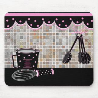 Polka Dot Kitchen Utensils Mouse Pad