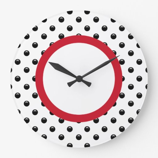 Polka Dot Kitchen Wall Decor Clocks Zazzle