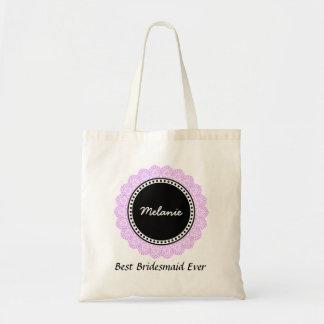 Polka Dot Lace Custom Name Sentiment V14B PURPLE Tote Bag