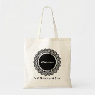 Polka Dot Lace Custom Name Sentiment V14C BLACK Tote Bag