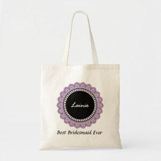 Polka Dot Lace Custom Name V14H PURPLE and BLACK Tote Bag