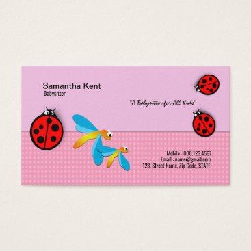 Polka Dot Ladybug Dragonfly Delight Business Card