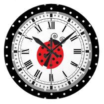 Polka Dot Ladybug Retro Style Clock