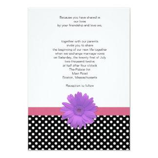 Polka Dot Lavender and Coral Wedding Invitation