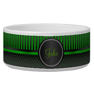 Polka Dot Lime Green and Black Stripes - DIY Name Bowl