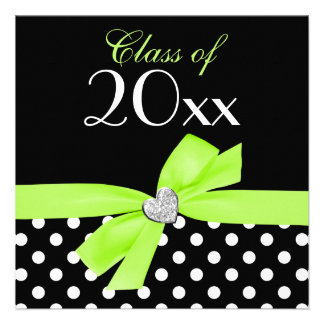 Polka Dot Lime Green Bow Heart Graduation Party Personalized Invites