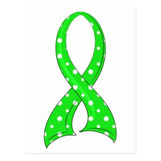 Polka Dot Lime Green Ribbon Lymphoma Postcard