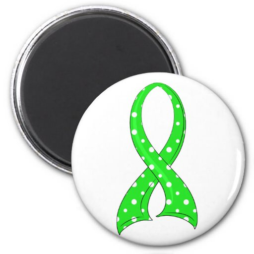 Polka Dot Lime Green Ribbon Non-Hodgkin's Lymphoma 2 Inch Round Magnet