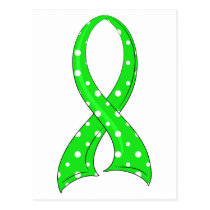 Polka Dot Lime Green Ribbon Non-Hodgkin's Lymphoma Postcard