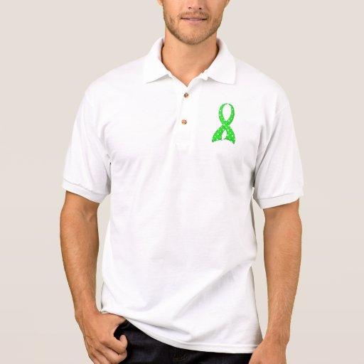 Polka Dot Lime Green Ribbon Non-Hodgkin's Lymphoma Polo Shirts