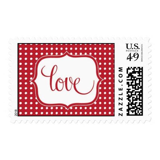 Polka Dot Love Postage Stamp