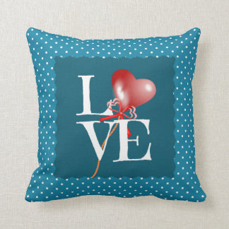 Polka Dot LOVE w Baby Name/bday/weight Slate Blue Throw Pillow
