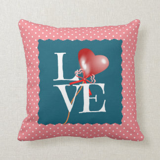 Polka Dot LOVE w Baby Name/bday/weight Slate/Rose Pillow