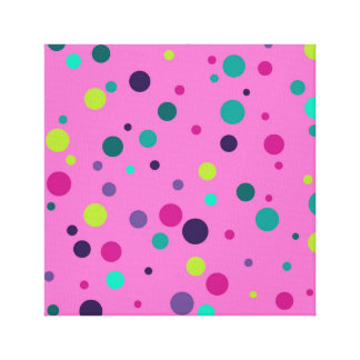 Polka dot magenta and turkuoise pattern canvas print