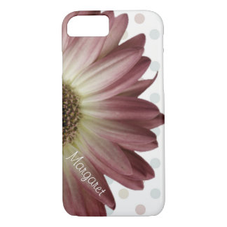 Polka Dot Marsala Wine Daisy Custom Name iPhone 7 Case