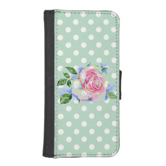 polka dot mint powder white cute chic girly fun phone wallet cases