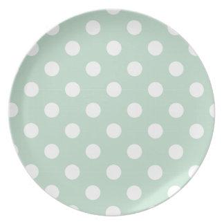 polka dot mint powder white cute chic girly fun dinner plate
