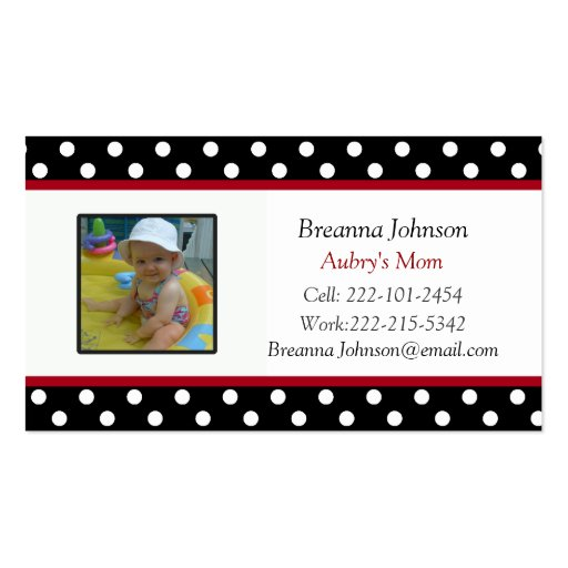 Polka Dot: Mom Contact Card Business Card Templates