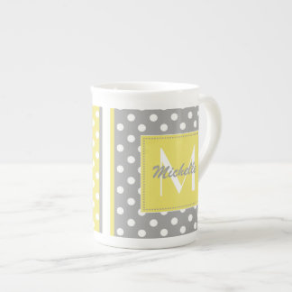 Polka Dot Monogram China Specialty Mugs Tea Cup