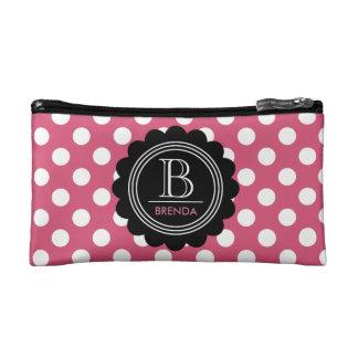 Polka Dot Monogram Cosmetic Bag