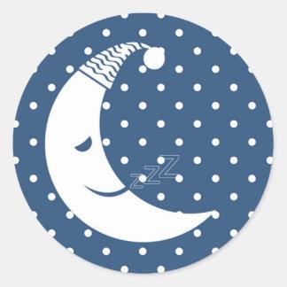 Polka Dot Moon Round Sticker