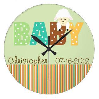 Polka Dot Multi Color Personalized Baby Clock