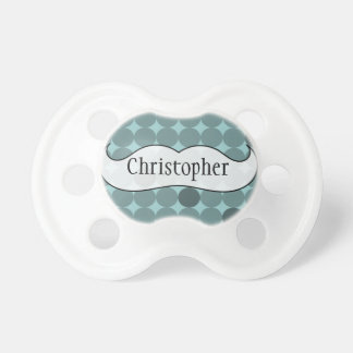Polka dot Mustache Personalized Baby Pacifiers