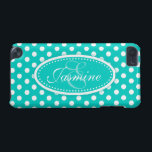 "Polka dot named teal aqua ipod case<br><div class=""desc"">Modern girls bright aqua teal polka dot patterned graphic case. Perfect for personalizing your ipod or as a special Christmas or birthday gift. Personalise with your name and initial. This example reads: Jasmine E.  Design by Sarah Trett.</div>"