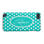 Polka dot named teal aqua ipod case iPod touch (5th generation) covers