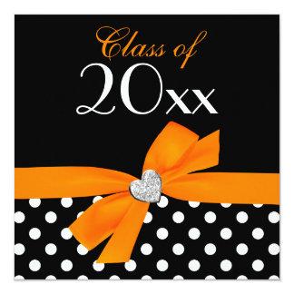 Polka Dot Orange Black Bow Heart Graduation Party Personalized Invitation