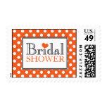 Polka Dot Orange Bridal Shower Postage Stamps