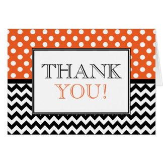 Polka Dot Orange & Chevron Thank You Card