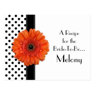 Polka Dot Orange Daisy Recipe Card for the Bride