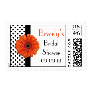 Polka Dot Orange Gerber Daisy Bridal Shower Postage Stamps