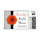 Polka Dot Orange Gerber Daisy Bridal Shower Postage Stamps