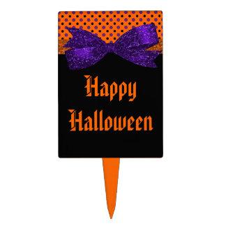 Polka Dot Orange Purple Black Halloween Cake Topper