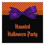 Polka Dot Orange Purple Black Halloween Custom Invites