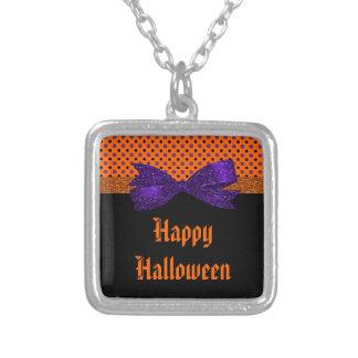 Polka Dot Orange Purple Black Halloween Silver Plated Necklace